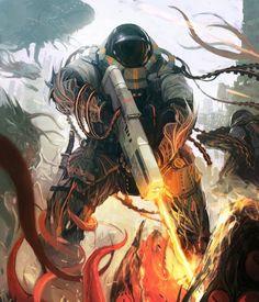 As ilustrações de fantasia e ficção científica de Gilang Andrian - Caçador de aliens