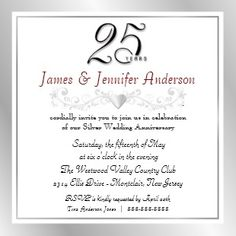 25th Silver Wedding Anniversary Party Invitation Invitations