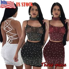 cbce484b64ada1 Dresses Women 2 Piece Bodycon Two Piece Crop Top and Skirt Set Bandage  Dress Party US 1