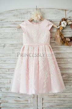 Princess ivory lace blush pink tulle flower girl dress kami pink satin ivory tulle lace cap sleeves wedding flower girl dress with belt mightylinksfo