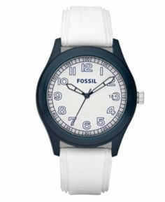 Fossil White Silicone Stap Navy Bezel White Dial Mens Watch JR1297 Fossil. $55.97. 50 Meters / 165 Feet / 5 ATM Water Resistant. 43mm Case Diameter. Analog Quartz Movement. Mineral Crystal