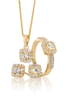 ‪ Cubic Zirconia Pendant Ring and Earrings *Prices Valid Until 25 Dec 2013 Gold Jewellery, Fine Jewelry, My Christmas Wish List, Classic Gold, Silver Rings, Bling, Diamond, Pendant, Bracelets