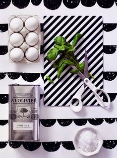 deco atelier: Ferm Living styling by Riikka and Emma.  Half Moon Wallpaper and Cutting Board - www.fermliving.com