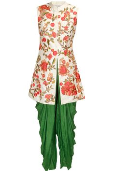 White resham embroidered jacket kurta with green dhoti pants available only at Pernia's Pop Up Shop.