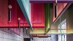 Pitsou Kedem designs colourful screens based on kites for Tel Aviv bistro