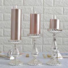 Pillar Candle Holders, Candlestick, Table Centerpieces | TableclothsFactory – tableclothsfactory.com Mercury Glass Candle Holders, Large Candle Holders, Candle Holders Wedding, Candle Stand, Votive Candle Holders, Votive Candles, Glass Holders, Candlestick Chart, Candle Holder Decor
