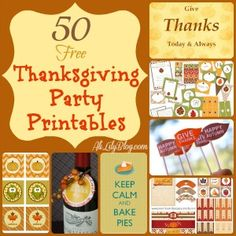 50 Free Thanksgiving party printables