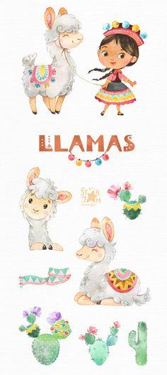 Watercolor Clipart, Watercolor Animals, Alpacas, Diy Photo, Llama Clipart, Conception Web, Llama Arts, Cactus, Clip Art