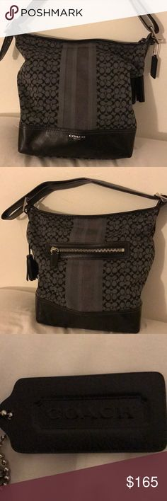 Coach purse ! Used once ! Black and grey coach purse! Only used once ! Coach Bags Shoulder Bags