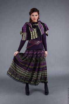 Купить Жаккардовая юбка с шарфом - фиолетовый, жаккардовое вязание, перуанка, кауни, жаккардовая юбка