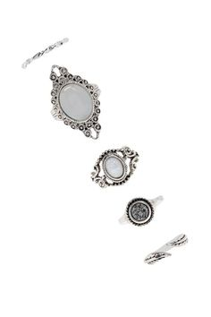 Product Name:Etched Faux Stone Ring Set, Category:ACC, Price:6.9