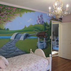 Girls Fairy Tale Mural.  A little more detail than I feel comfortable taking on but this is the basic idea!