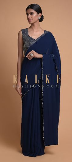 Navy Blue Saree In Georgette With Bead Tassels And Cut Dana Work On The Pallu Online - Kalki Fashion Kasavu Saree, Sabyasachi Sarees, Georgette Sarees, Indian Bridal Lehenga, Indian Sarees, Indian Fashion Dresses, Indian Outfits, Navy Blue Saree, Satin Saree