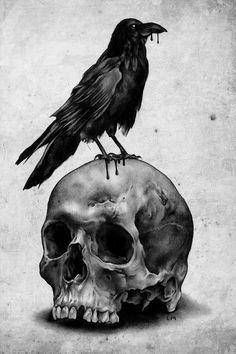 Raven and Skull Totally Edgar Allan Poe C: Corvo Tattoo, Tattoo Sketch, Tattoo Art, Rabe Tattoo, Art Noir, Totenkopf Tattoos, Raven Art, Bild Tattoos, Tattoos Pics