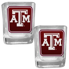 Texas A/&M Aggies Alumni 2 Ounce Square Shot Glass laser etched logo Design 4-Pack