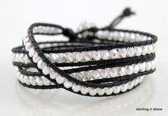 Wrap Bracelet  Black Leather  White  Pearls  by SterlingNStone77, $38.00