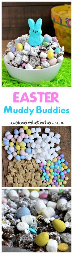 Easter Muddy Buddies- The perfect fun and festive snack mix for Easter! Easter Snacks, Easter Treats, Easter Recipes, Dessert Recipes, Easter Desserts, Easter Food, Egg Recipes, Recipies, Easter Dinner