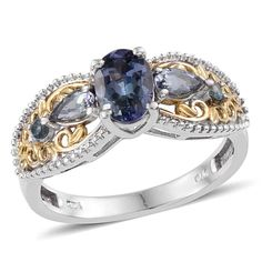 Bondi Blue Tanzanite (Ovl 1.10 Ct) Ring in 14K YG and Platinum Overlay Sterling Silver Nickel Free (Size 8.0) TGW 1.650 cts.
