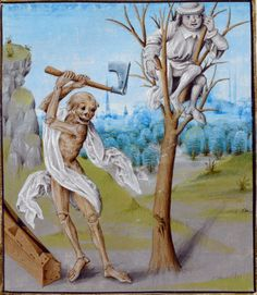 British Library, Royal 15 D V f. 36 (Detail of a miniature of 'Death Chopping Down a Tree'). Netherlands, last quarter of the century. Must have been seen by Ingmar Bergman, surely. Medieval Manuscript, Medieval Art, Illuminated Manuscript, British Library, Memento Mori, Renaissance, Danse Macabre, Macabre Art, Dance Of Death