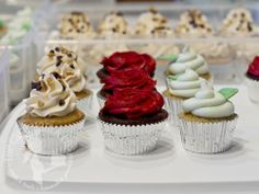 Kentucky Derby Cupcake Trio via The Cake Mom & Co. -- Derby Pie, red roses and mint julep cupcakes