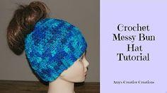 Crochet Easy Beginner Ribbed Ponytail Winter Hat DIY Tutorial - YouTube