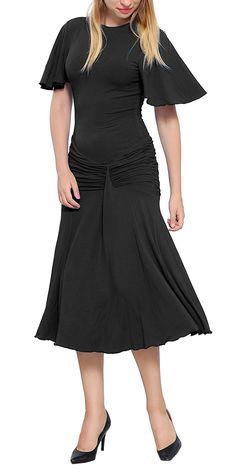 Marycrafts Womens Drop Waist Midi Dress Flapper Vintage Retro 1920s 6 White at Amazon Women's Clothing store: