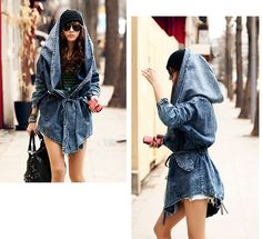 Aliexpress.com $26.59 Drastic adaption of a denim jacket into a very baggy coat with a large hood.  Simple tie to hold it closed.  Elasticated cuffs. Very worn look, fraying.  Uneven bottom.