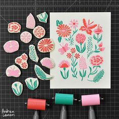 Had fun layering colors and working without a black keyblock for this botanical print design Stamp Printing, Screen Printing, Linocut Artists, Illustration Inspiration, Eraser Stamp, Zealand Tattoo, Stamp Carving, Handmade Stamps, Linoprint