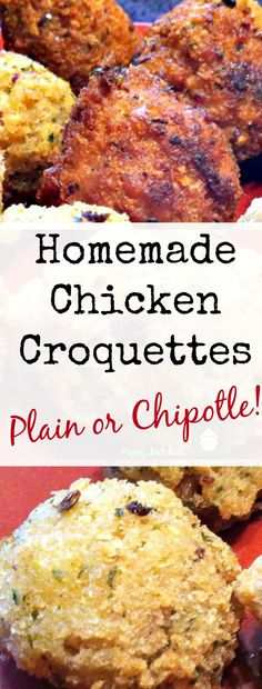 Homemade Chicken Croquettes – Plain and chipotle. You choose. Serve as an appeti… Homemade Chicken Croquettes – Plain and chipotle. You choose. Serve as an appetizer or entree, with your favorite sauce! Tapas Dishes, Dinner Dishes, Dinner Recipes, Pork Dishes, Dinner Ideas, I Love Food, Good Food, Chicken Croquettes, Chicken Wing Recipes