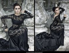 Romantic Gothic black lace low back long sleeve gown