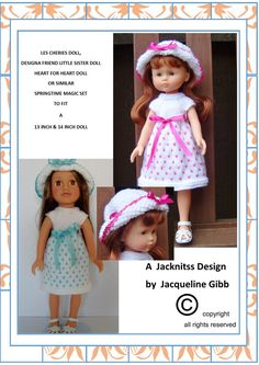 pdf Knitting pattern #LC02 for The 13 inch Les Cheries Doll and 14 inch Argos Designa Friends Little Sister Doll or The 14 inch Heart 4 Heart Doll or