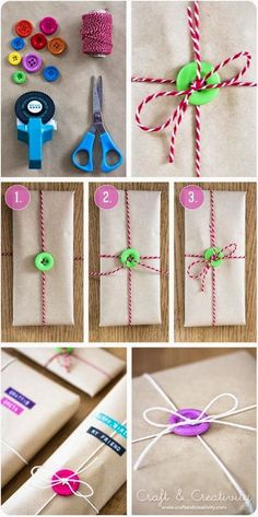 10 Ideas to Wrap Your Gifts - I love the buttons, pyramids, and fun kid ideas.