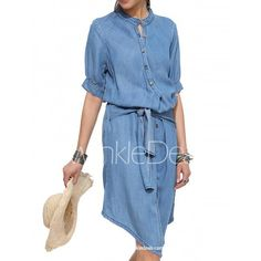 Stylish Stand-Up Collar Half Sleeve Asymmetrical Lace-Up Women's Dress