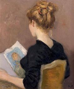 Reading     -    Marcel Dyf  French, 1899-1985  Oil on canvas,  55 x 46 cm. (21.7 x 18.1 in.)