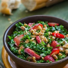 Strawberry Walnut Kale Salad Recipe Salads with Hidden Valley® Original Ranch® Light Dressing, honey, walnuts, kale, strawberries