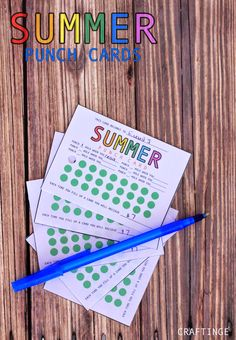 Summer Punch Cards. Great idea for the kids this summer.