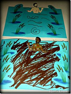 naaman dipping in the river jordan craft our book comes with a good naaman template - Bible Story Coloring Pages Naaman