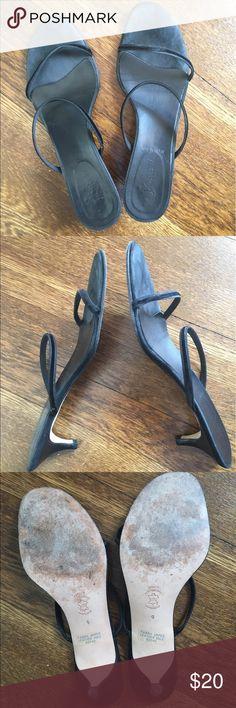 """J. Crew black double-strap velvet sandals J. Crew black double-strap velvet sandals with 2"""" kitten heel J. Crew Shoes Sandals"""