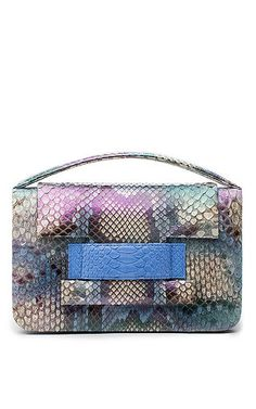 METALSKIN - One Of A Kind Python Madison Clutch in Iridescent