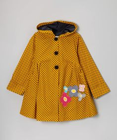 Maria Elena Mustard Polka Dot Flower Hooded Swing Coat - Toddler & Girls by Maria Elena #zulily #zulilyfinds