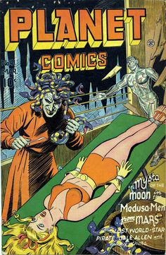 Classic Golden Age covers by Joe Doolin from Planet Comics, published by Fiction House, circa Book Cover Art, Comic Book Covers, Comic Books Art, Comic Art, Sci Fi Comics, Horror Comics, In The Year 2525, Pulp Fiction Comics, Planet Comics