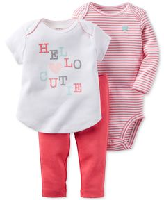 Carter's Baby Girls' 3-Pc. Hello Cutie T-Shirt, Bodysuit & Pants Set