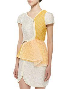 3.1 Phillip Lim Free-From Woven & Crinkled Satin Top & Cord-Framed Crinkled Satin Skirt