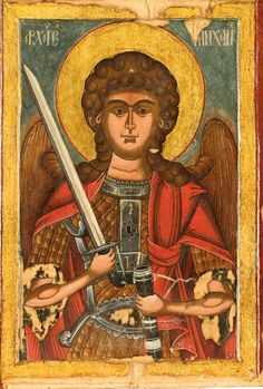 Icon of Archangel Michael in the collection of the monastery. He is one of the patron saints of the church. Icon of Archangel Michael, In the collection of Stavropoleos Church, Bucharest. It is one of the patron saints of the monastery. St Michael, Archangels, Orthodox Icons, Mona Lisa, Painting, Archangel Michael, Art, Angel