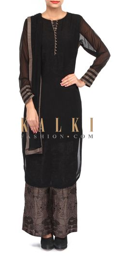 Buy Online from the link below. We ship worldwide (Free Shipping over US$100). Product SKU - 304288.Product Link - http://www.kalkifashion.com/black-palazzo-suit-adorn-in-resham-embroidery-only-on-kalki.html