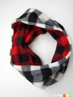 lumberjack plaid circle scarf Cowl Scarf, Plaid Infinity Scarf, Diy Scarf, Scarf Ideas, Fleece Hats, Fleece Scarf, Fleece Blankets, Minky Blanket, Sewing Tutorials