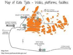 Kata Tjuta Map Walks, sunset, sunrise platforms, facilities