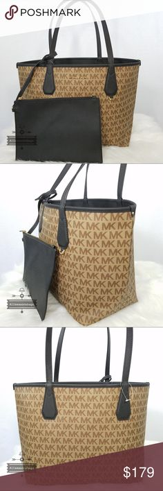 0c5a29ea98d2 Michael Kors candy large reversible tote Black Brn New Michael Kors Bags  Totes Signature Style
