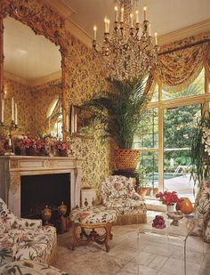 English sitting room.... A bit busy, but I like it, especially the dash of lucite!