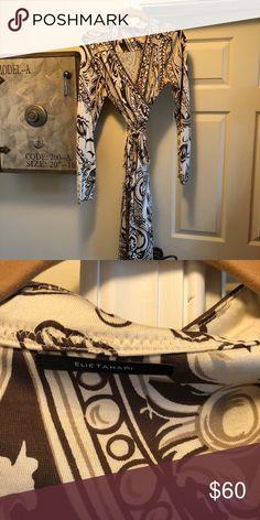 Elite Tahari Brown and Cream Wrap Dress Elite Tahari Brown and Cream Wrap Dress Elie Tahari Dresses Midi Elie Tahari Dresses, Animal Print Rug, Wrap Dress, Shop My, Cream, Brown, Womens Fashion, Closet, Style